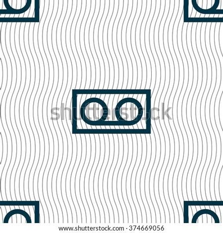 audio cassette icon sign. Seamless pattern with geometric texture. illustration - stock photo