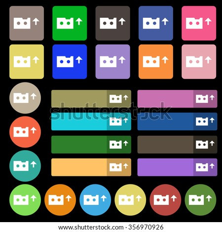 audio cassette icon sign. Set from twenty seven multicolored flat buttons. illustration - stock photo