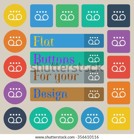 audio cassette icon sign. Set of twenty colored flat, round, square and rectangular buttons. illustration - stock photo
