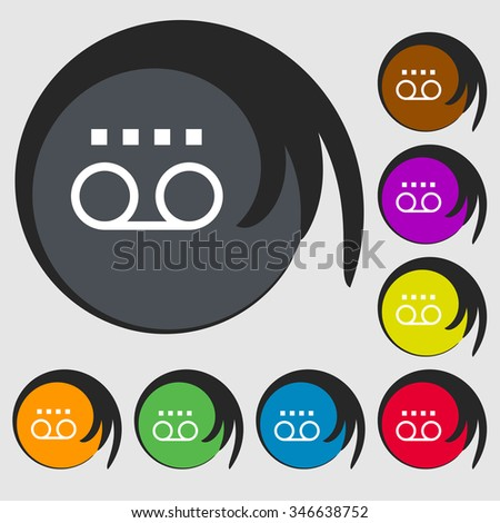 audio cassette icon sign. Symbol on eight colored buttons. illustration - stock photo