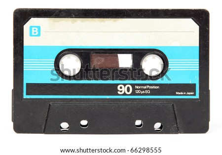 Audio cassette isolated on white - stock photo
