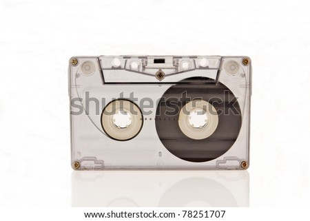 Audio cassette isolated on white background - stock photo