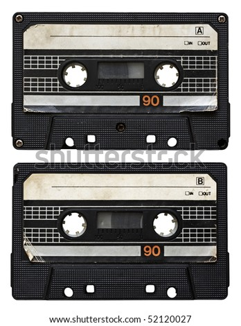 audio cassette isolated on white background. side A and B - stock photo