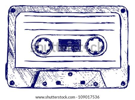 Audio cassette. Raster - stock photo