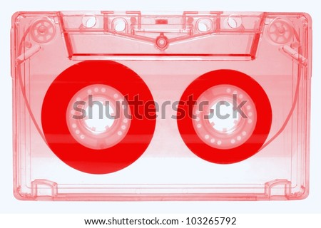 Audio cassette - red - isolated on white background - stock photo