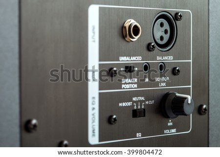 audio connection control panel active studio monitor, close up. - stock photo