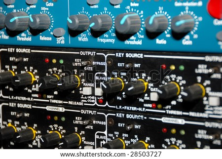 Audio effects processors in a rack. Sound Recording Equipment (Media Equipment). Recording studio. - stock photo