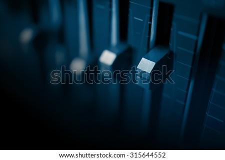 Audio equalizer Control panel  - stock photo