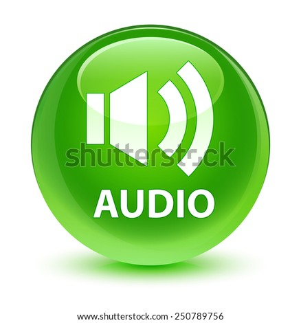 Audio glassy green button - stock photo