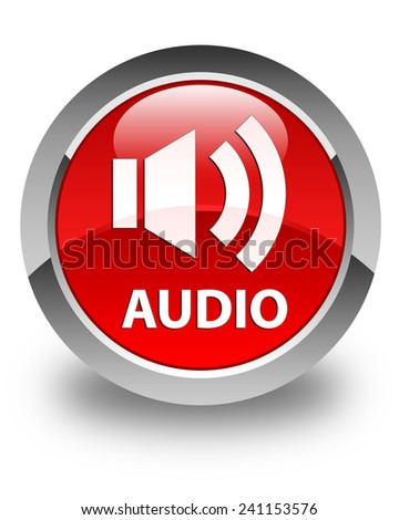 Audio glossy red round button - stock photo