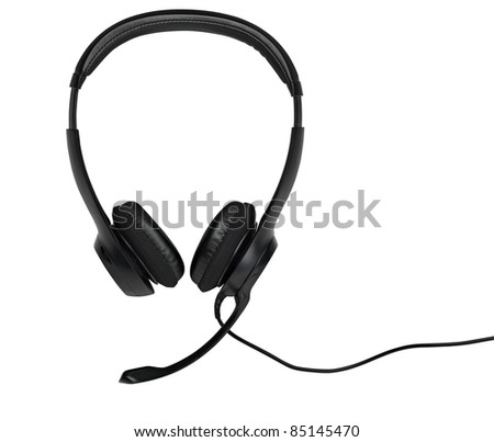 Audio headset with a micro (clipping path ) - stock photo