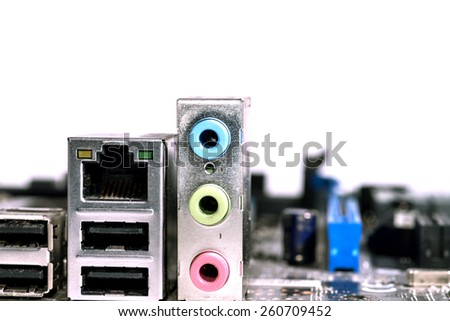 audio inputs to the computer motherboard - stock photo