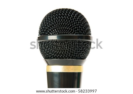 Audio microphone isolated on the white background - stock photo