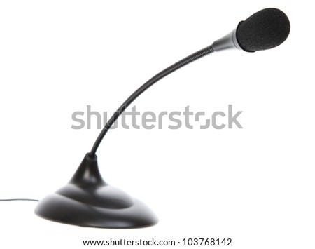 audio microphone isolated on white background - stock photo