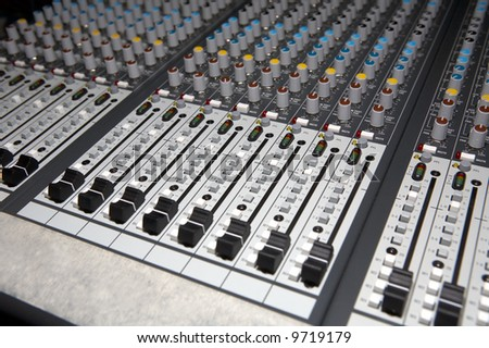 Audio Mixing panel - stock photo