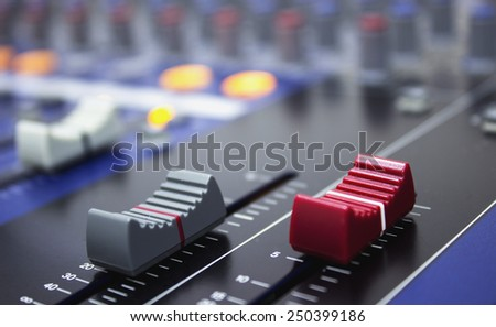 Audio music mixer board , music studio equipment fader  - stock photo