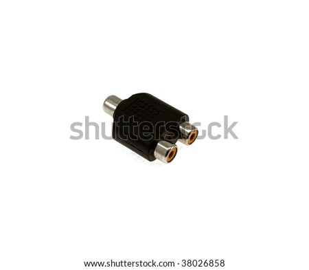 Audio of video an adapter isolated on a white background - stock photo