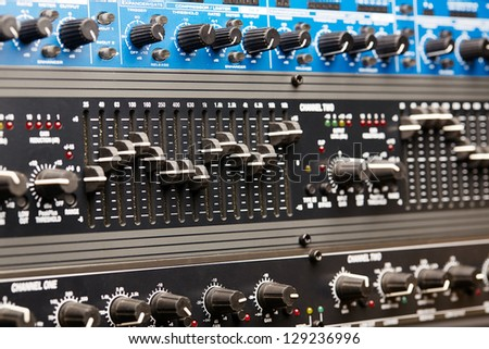 Audio rack, audio equipment control panel - stock photo