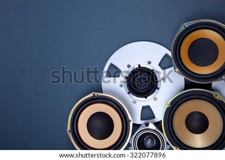 Audio Sound Speakers and Open Reel Objects Collection Set - stock photo