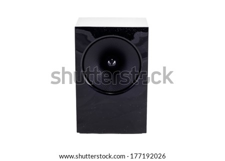 audio speaker isolated in white background with clipping path - stock photo