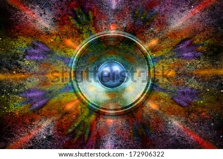 Audio speaker on a colourful textured background - stock photo