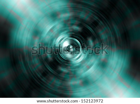 Audio speaker on spinning green background - stock photo