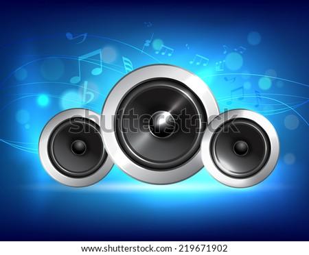 Audio speakers subwoofer system on blue music background concept  illustration. - stock photo