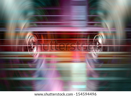 Audio speakers with blured light streaks - stock photo