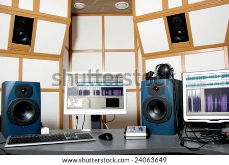 audio studio - stock photo