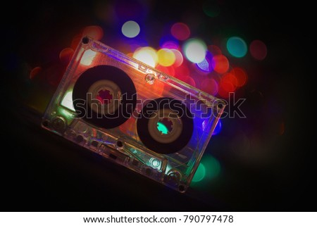 Audio Tapes For Tape Recorder 70s 80s 90s Bokeh Vintage Fashion Old Retro Wallpaper Background Closeup
