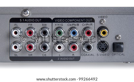 Audio Video input output Connection Panel - stock photo