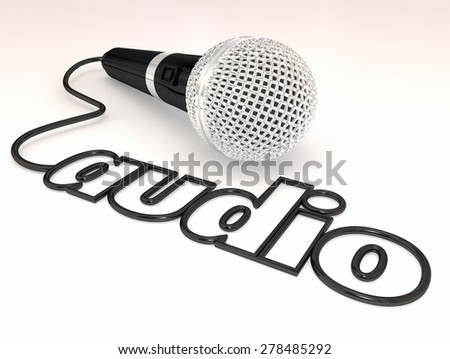 Audio word in a cord or wire from a microphone, mic or mike to illustrate sound from an interview or report of news or message - stock photo