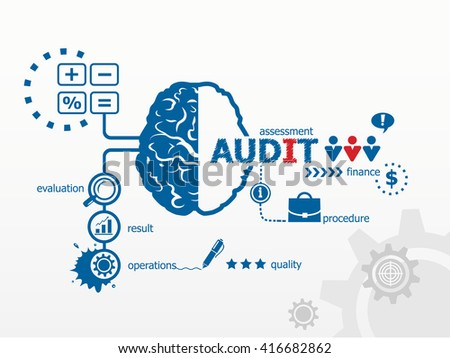Audit - analyze the financial statement of a company. Several possible outcomes of performing an audit raster version - stock photo