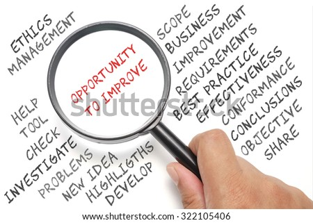 Audit, business conceptual focusing on Opportunity To Improve - stock photo