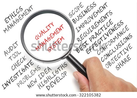 Audit, business conceptual focusing on Quality Management System - stock photo