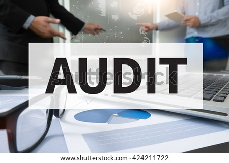 AUDIT                    Businessman making presentation with his colleagues and business strategy digital layer effect at the office as concept - stock photo