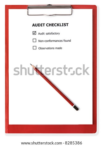 Audit checklist on red clipboard, with pencil. - stock photo