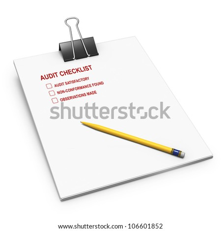 Audit checklist with yellow pencil and bulldog clip on white background - stock photo