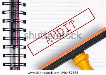 Audit rubber stamp on the note book - stock photo