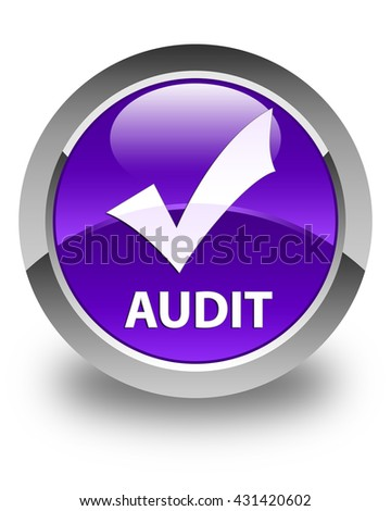 Audit (validate icon) glossy purple round button - stock photo