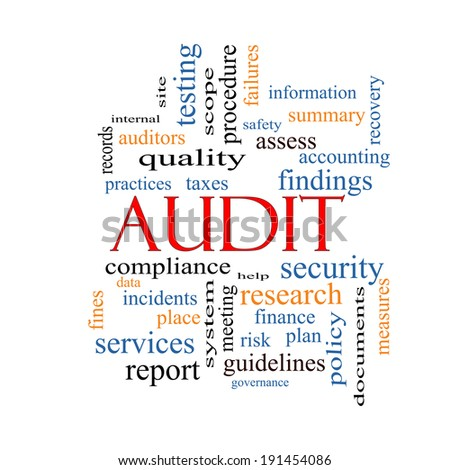 Audit Word Cloud Concept with great terms such as finance, findings, data and more. - stock photo