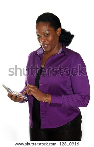 auditor calculating on a calculator - stock photo