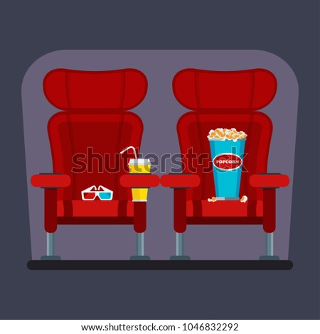 Auditorium Seats Movie Theater Flat Cartoon Stock ...