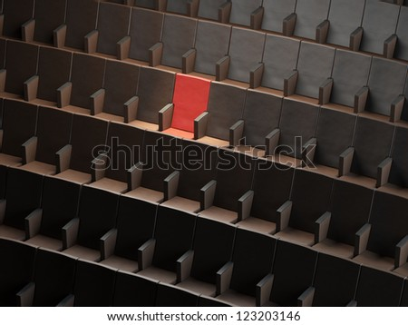 Auditorium With One Exclusive Seat. Red one - stock photo