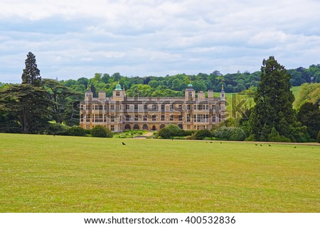 Audley End House and Garden Front in Essex in England. It is a medieval county house. Now it is under protection of the English Heritage. - stock photo