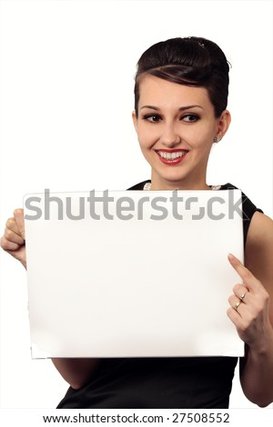 Audrey Hepburn alike presenting you in style holding a blank board isolated on white