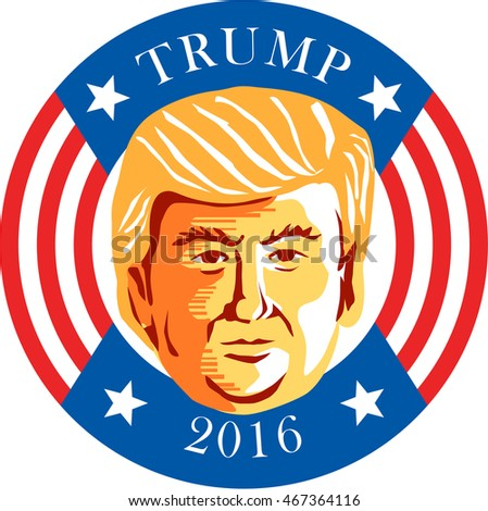 Aug 12, 2016:Illustration showing Republican Donald John Trump set inside circle with stars and stripes with words Trump 2016 president done in stencil retro art style.