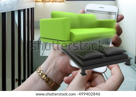 Augmented reality marketing technology concept. Hand holding smart phone use AR application for simulate furniture and interior design products in room home. 3D rendering