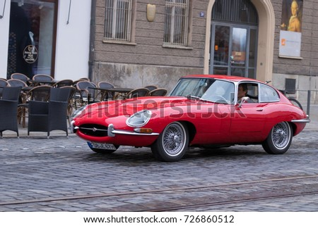 Augsburg, Germany   October 1, 2017: Jaguar E Type Oldtimer Car At