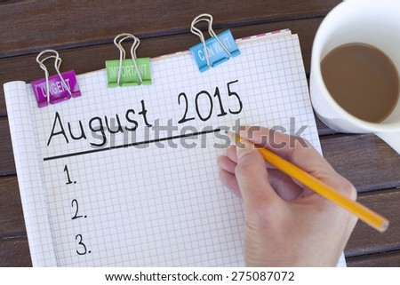 August 2015 - stock photo